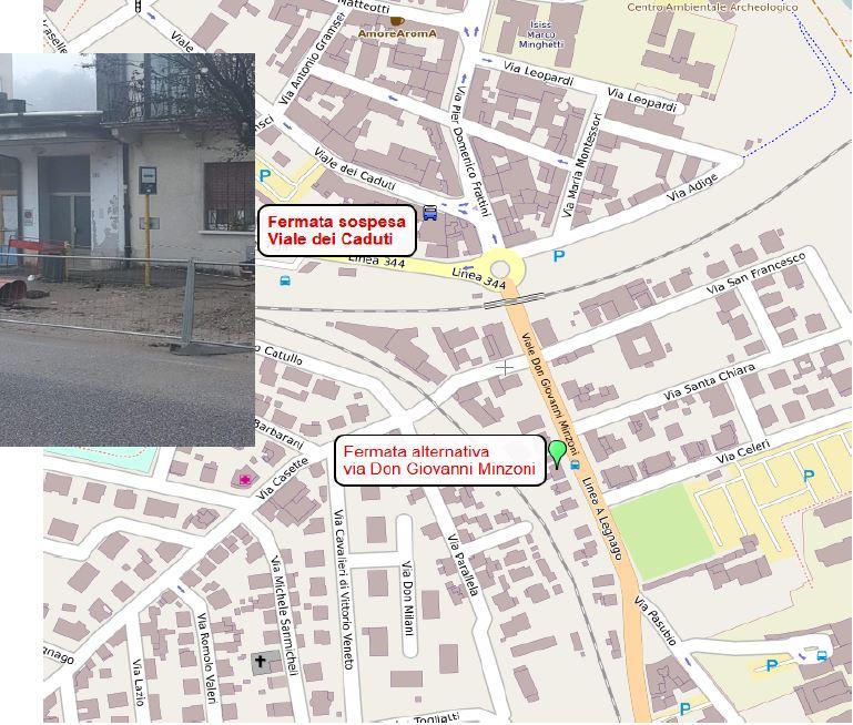 Mappa fermata Viale dei Caduti a Legnago