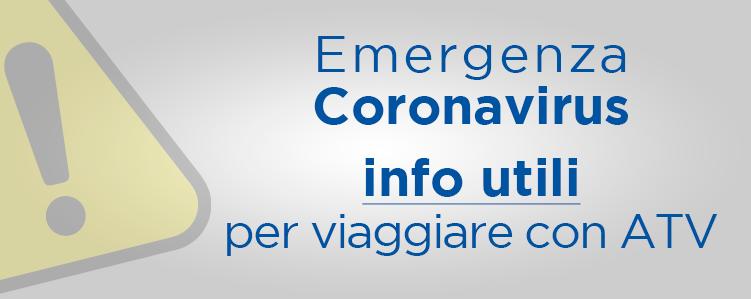 Emergenza Coronavirus info utili per viaggiare con ATV