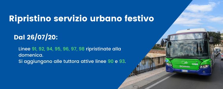 ripristino servizio urbano festivo