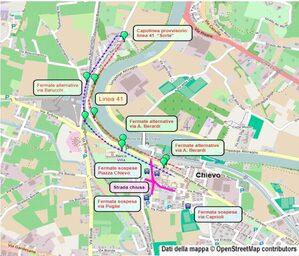 Mappa deviazione piazza Chievo