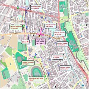 Mappa deviazione viale A. Manzoni e via S. Marco