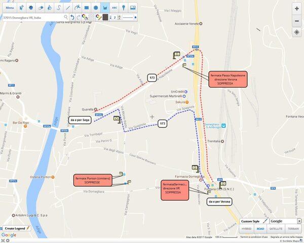 mappa deviazione linea 173