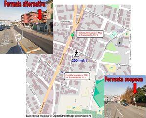 Mappa sospensione fermata via Scuderlando