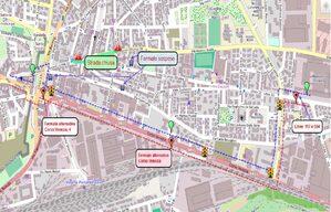 Mappa deviazione per manifestazione La Corrida